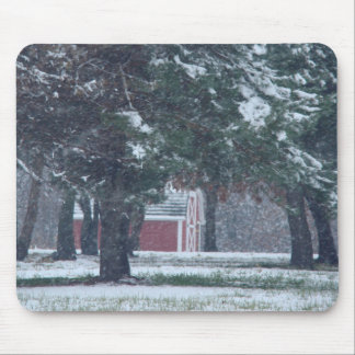 Little Red Barn In Snowy Grove Mouse Pad
