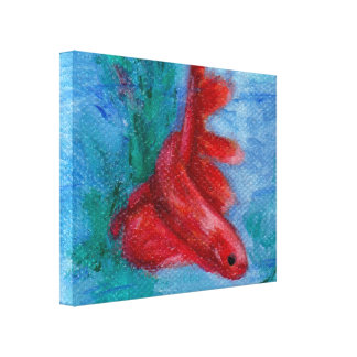 Little Red Betta Fish Canvas Prints