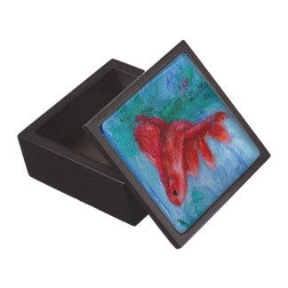 Little Red Betta Fish Jewelry Box