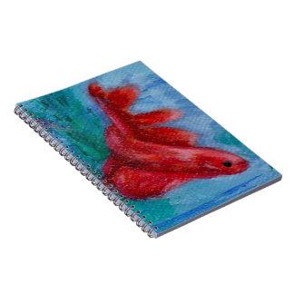 Little Red Betta Fish Notebook