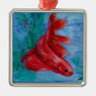 Little Red Betta Fish Square Metal Christmas Ornament