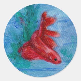 Little Red Betta Fish Stickers