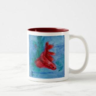 Little Red Betta Fish Two-Tone Coffee Mug