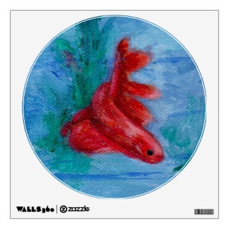 Little Red Betta Fish Wall Decal