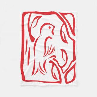 Little Red Bird Fleece Blanket