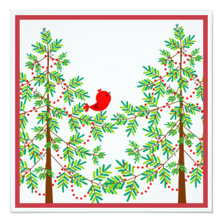 """Little Red Bird in a Christmas Tree Party 5.25"""" Square Invitation Card"""