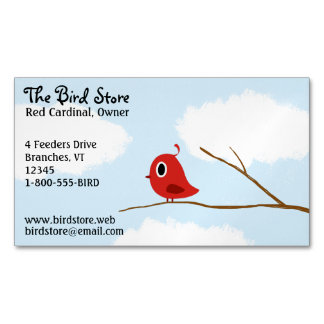 Little Red Bird On A Tree Branch Business Card Magnet