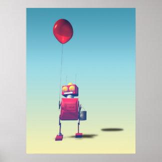 Little Red Birthday Robot 3 Print