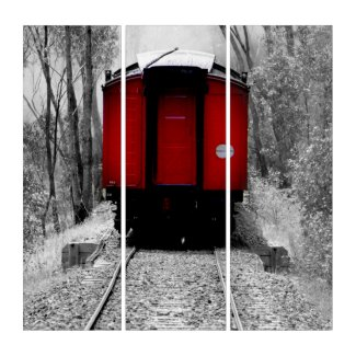 Little Red Caboose Vintage Train Steam Engine Triptych (3) 36