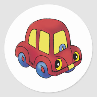 Little red car round stickers