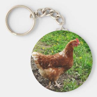 Little Red Chicken  - Free Range Egg Layer Basic Round Button Keychain