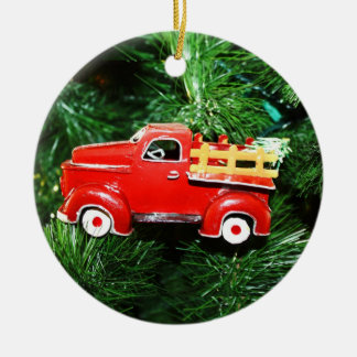 Little Red Christmas Pick-up Truck Ornament (3) Christmas Tree Ornaments