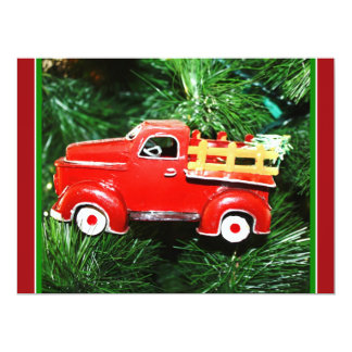 Little Red Christmas Pick-up Truck Ornament (3) 6.5x8.75 Paper Invitation Card