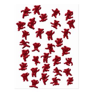 little red climbing bears postcard