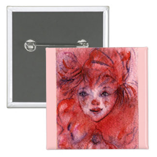 LITTLE RED CLOWN 2 INCH SQUARE BUTTON