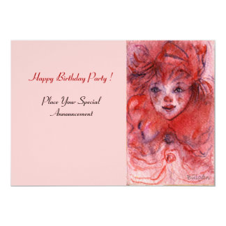 LITTLE RED CLOWN Pink Birthday Party Invitation