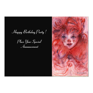 LITTLE RED CLOWN,Pink Black Birthday Party Invite