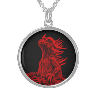Little red Dragon Sterling Silver Necklace