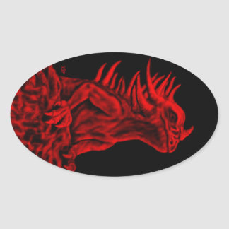 Little red Dragon Oval Sticker