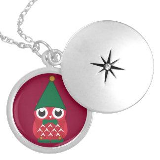 Little Red Elf Owl Round Locket Necklace
