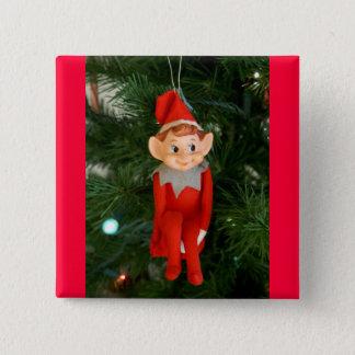 Little red elf pinback button