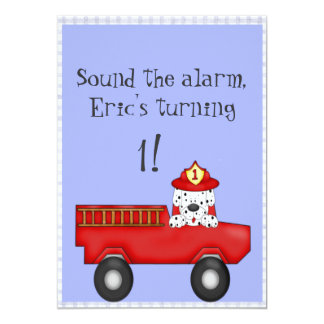 Little Red Fire Truck, Dalmatian Birthday Card
