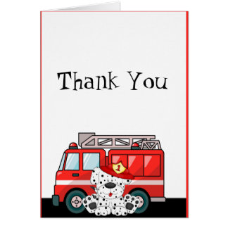 Little Red Fire Truck, Dalmatian Birthday Stationery Note Card