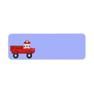 Little Red Fire Truck, Dalmatian Birthday Label