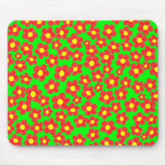Little Red Flowers on Green, Mousepad