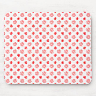Little Red Flowers on White Mouse Pad