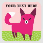 Little Red Fox with Custom Text Square Stickers