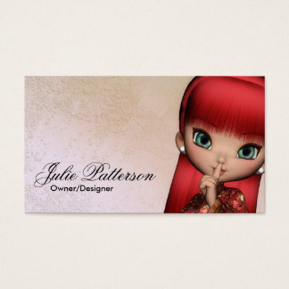 Little Red Hair Asian Girl Fantasy Business Cards