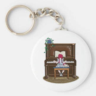 Little Red Haired Girl Practicing Piano Basic Round Button Keychain
