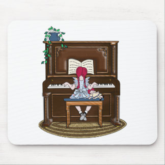 Little Red Haired Girl Practicing Piano Mouse Pad