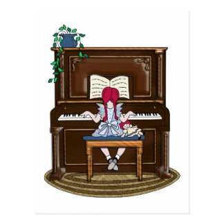 Little Red Haired Girl Practicing Piano Postcard