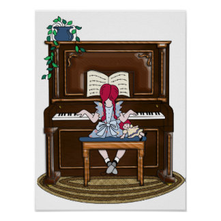 Little Red Haired Girl Practicing Piano Poster
