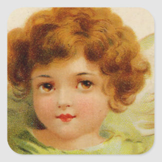 Little Red-Headed Angel Square Sticker