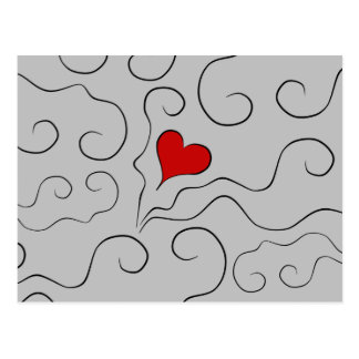 Little red heart romantic Valentine's day Postcard