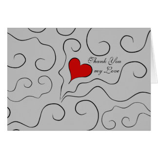 Little red heart Valentine's Day Thank You Card