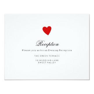 Little Red Heart Wedding Reception Card