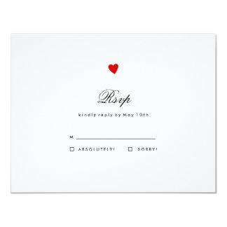 Little Red Heart Wedding RSVP Card