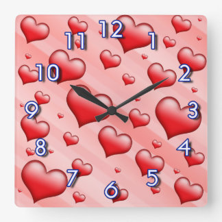 Little red hearts square wall clock