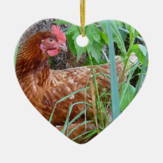 Little Red Hen in the Grass Ceramic Ornament