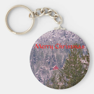 Little Red House on a Snowy Mountain Keychain