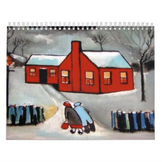 LITTLE RED HOUSE SNOW SCENE WALL CALENDARS