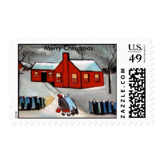 LITTLE RED HOUSE SNOW SCENE, Merry Christmas Postage Stamp