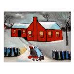 LITTLE RED HOUSE SNOW SCENE POSTCARD