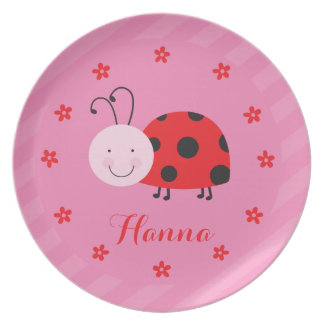 Little Red Ladybug Personalized Melamine Plate