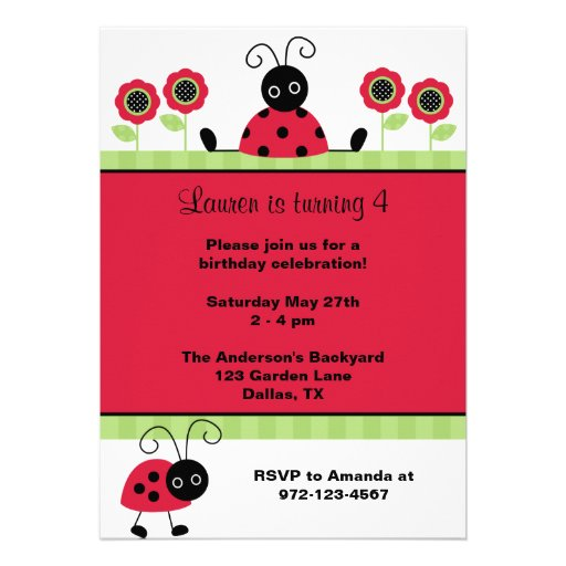 Little Red Ladybugs Personalized Invite