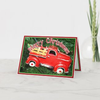 Little Red Pick-up Truck Christmas Ornament (2) card